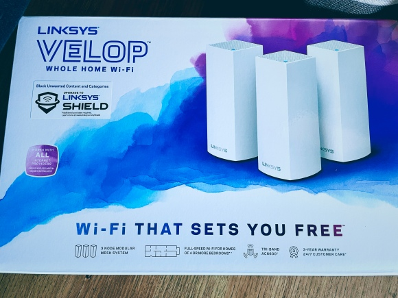 photograph of the Linksys Velop mesh wifi system