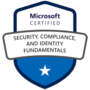Microsoft Certified: Security, Compliance, and Identity Fundamentals award badge